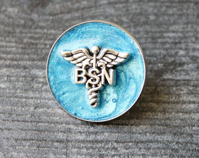 Bachelor of Science nursing pin, BSN pinning ceremony, nurse graduation gift, white coat ceremony, blue, large