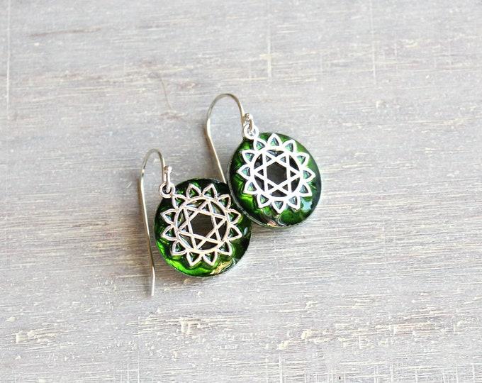 Anahata heart fourth chakra dangle earrings