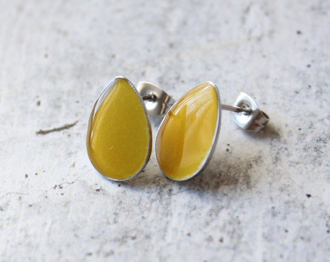 yellow teardrop earrings with stainless steel posts, unique gift, geometric jewelry