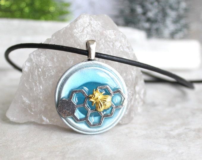 blue bee necklace, glow in the dark, honeybee jewelry, bumblebee pendant, nature necklace, unique gift, honeycomb jewelry honeycomb necklace