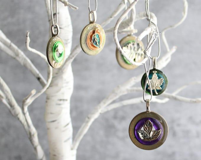 Fall tree ornaments, set of 5, miniature tree, table top tree, leaf ornaments