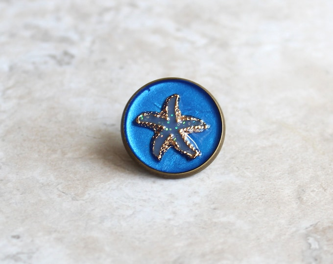 blue starfish lapel pin, starfish tie tack, ocean jewelry, mens jewelry, wedding party, groomsman gift, unique gift, beach theme