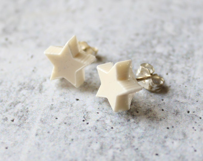 white star earrings with sterling silver posts, celestial jewelry, unique gift