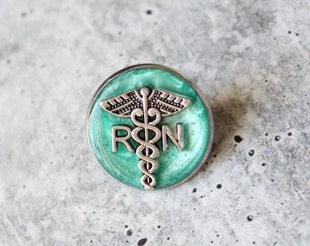 registered nurse pin, RN pinning ceremony, white coat ceremony, graduation gift, bright green