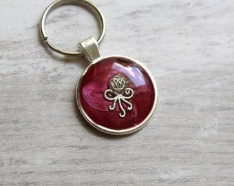 octopus keychain, burgundy, ocean keyring