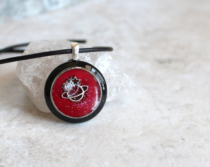 red planet necklace, outer space pendant, galaxy necklace, celestial jewelry, Saturn jewelry, unique gift, space exploration