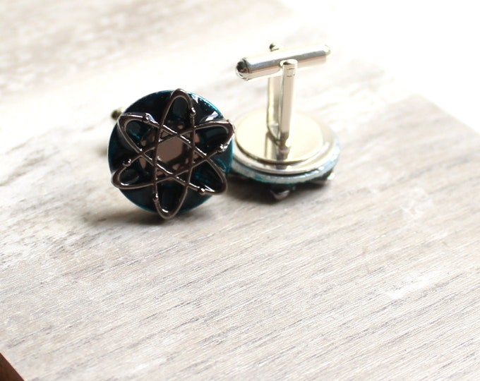 teal blue atom cufflinks