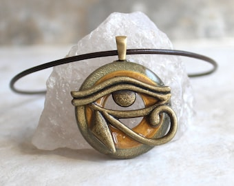 gold Eye of Horus necklace, eye of Ra jewelry, Egyptian pendant, mens jewelry, boyfriend gift, mens necklace, unique gift