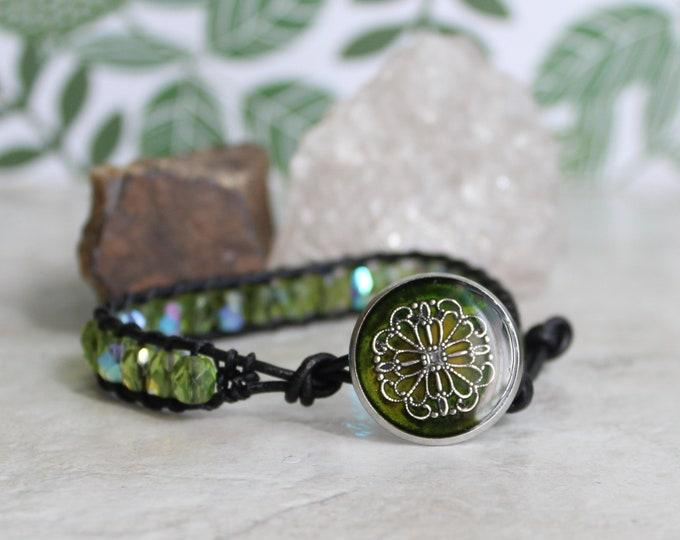 spring green filigree flower bracelet, Czech glass beaded bracelet, leather cord bracelet, floral jewelry, gift for wife, unique gift