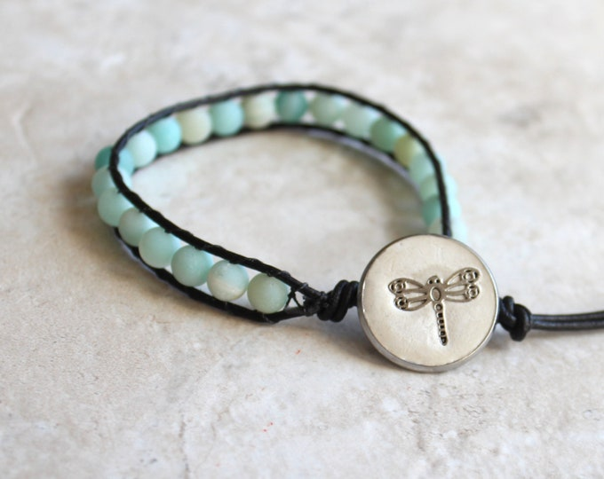 dragonfly bracelet, frosted natural amazonite bracelet, leather cord bracelet, unique gift, stocking stuffer, gift under 30