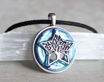 ice blue tree necklace, star necklace, star tree, nature necklace, unique gift, wiccan jewelry, family tree, gift for her, wife gift