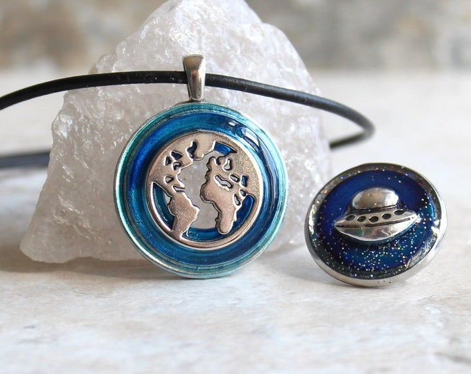 sky blue outer space gift set, world necklace, UFO pin, lapel pin, tie tack, map pendant, wanderer jewelry, flying saucer, planet earth