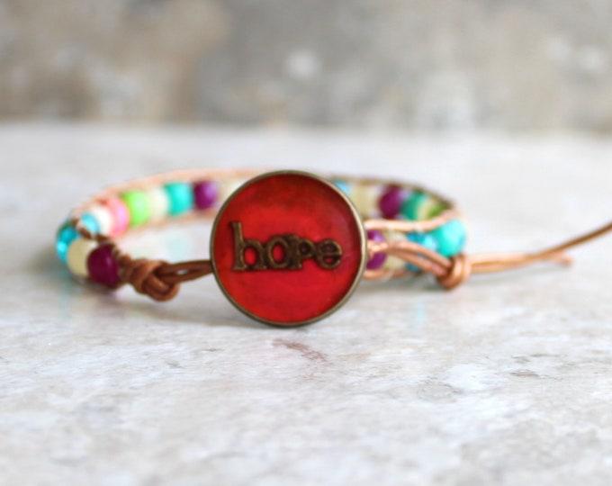 hope bracelet, beaded bracelet, leather cord bracelet, hope jewelry, inspirational jewelry, unique gift, hippie jewelry, valentine gift