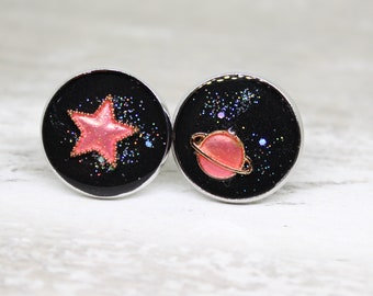 galaxy cufflinks, pink