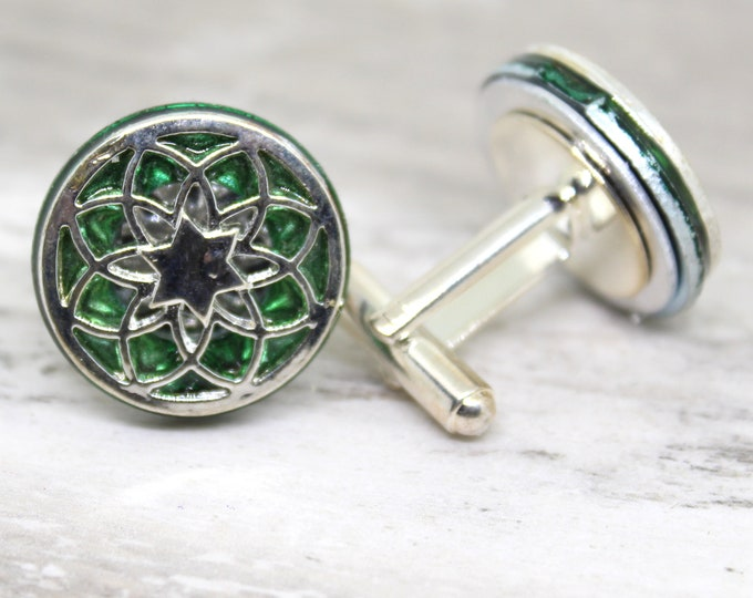 seed of life cufflinks, green