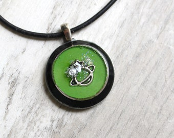 green planet necklace, outer space pendant