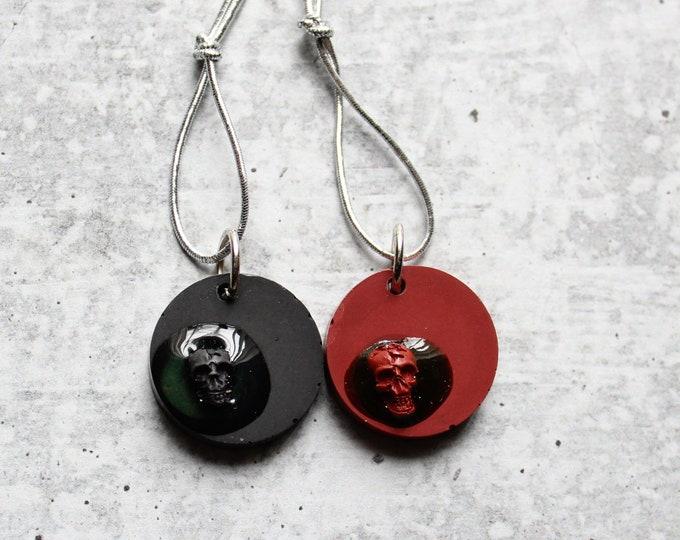 set of 2 skull ornaments, Halloween tree ornaments