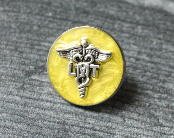 licensed massage therapist pin, LMT pinning ceremony, white coat ceremony, yellow, large