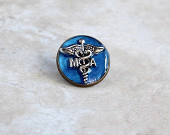 blue medical assistant pin, MA pinning ceremony, MA graduation gift, white coat ceremony, medical assistant gift