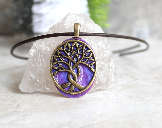 lavender tree of life necklace, nature necklace, boyfriend gift, mens jewelry, mens necklace, wiccan jewelry, celtic necklace, ready to ship