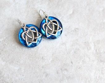 96453c20b sky blue Celtic sister knot earrings, Celtic jewelry, sister gift,  friendship jewelry