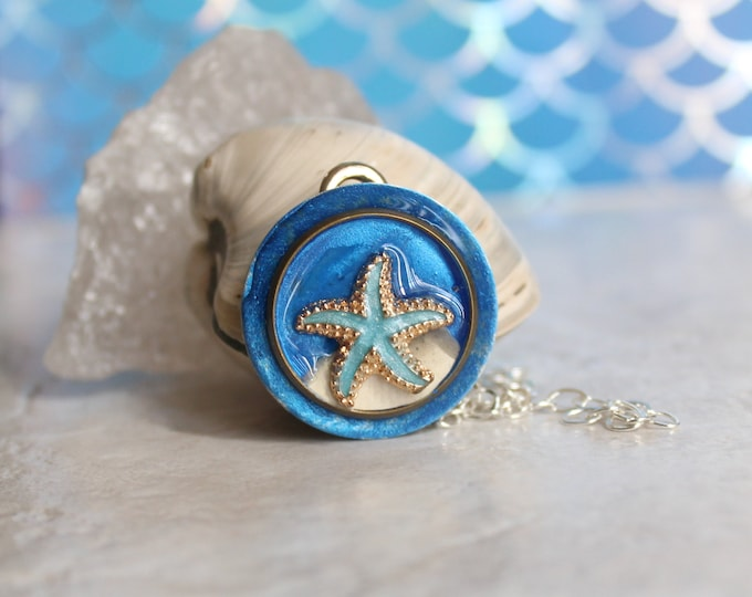 blue starfish necklace, fish jewelry, aloha jewelry, nature necklace, tide pool necklace, Bioluminescent beach, unique gift