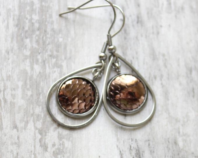 copper mermaid scale earrings on stainless steel ear wires