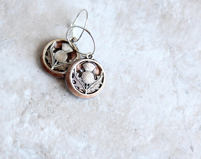 rose gold Scottish thistle hoop earrings, Scottish jewelry, unique gift, hoop with charm, floral jewelry, nature jewelry