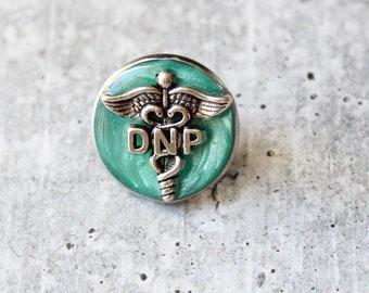 Doctor of nursing practice pin, DNP pinning ceremony, nurse graduation gift, white coat ceremony, bright green
