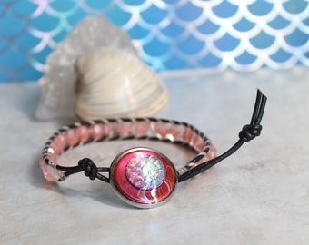 pink scale bracelet, leather cord bracelet, beaded bracelet, mermaid scale, dragon scale, fish scale, unique gift, stocking stuffer