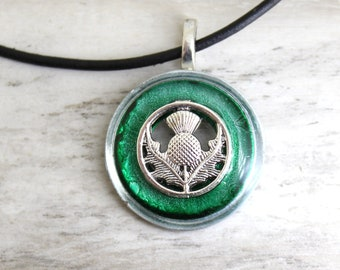 forest green Scottish thistle necklace, Scotland jewelry