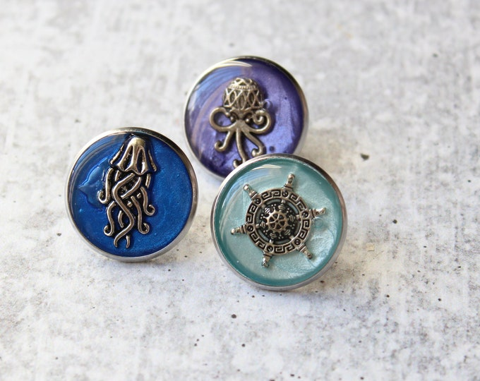 set of 3 ocean themed pins, beach lover lapel pins, unique gift