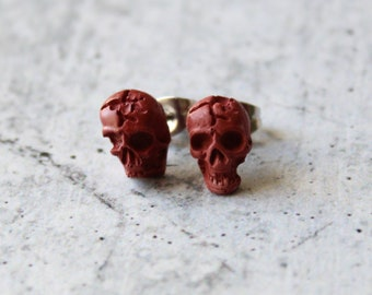 red skull earrings with sterling silver posts, unique gift, concrete jewelry