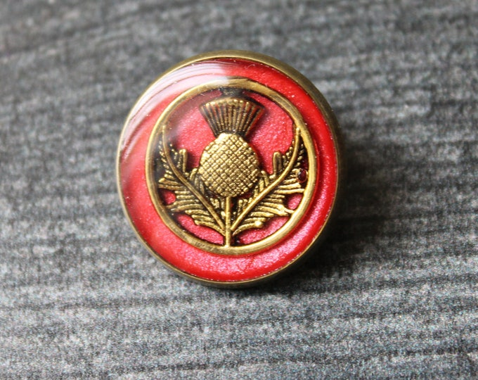 Scottish thistle pin, red, brass back, lapel pin, tie tack unique gift
