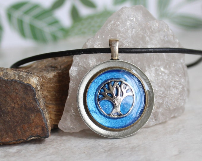 blue tree necklace, mens jewelry, mens necklace, tree pendant, nature necklace, boyfriend gift, unique gift, ready to ship