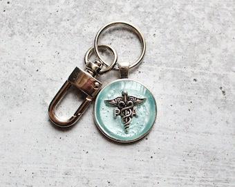 PA keychain, physician assistant keyring, ice blue
