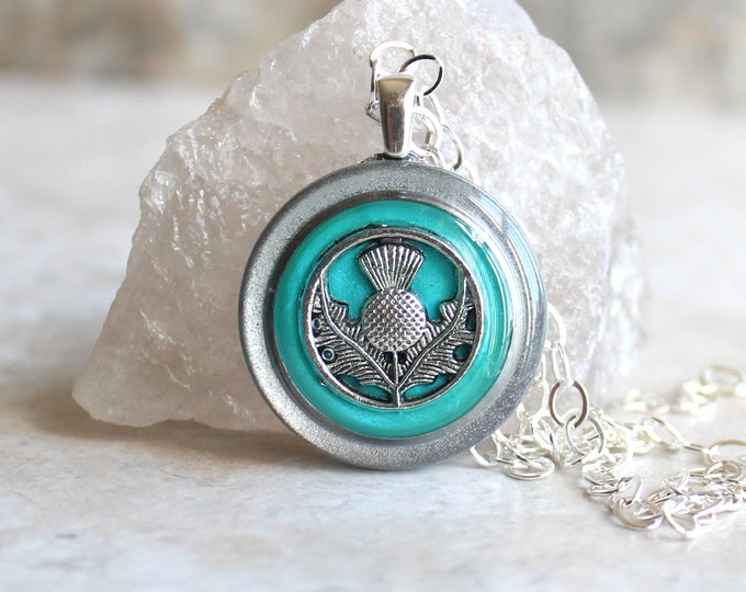 turquoise Scottish thistle necklace, Scotland jewelry, thistle pendant, unique gift, floral jewelry, Scottish wedding, Celtic jewelry