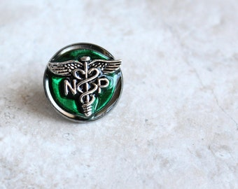 forest green nurse practitioner pin, np pinning ceremony, nurse graduation gift, white coat ceremony, unique gift