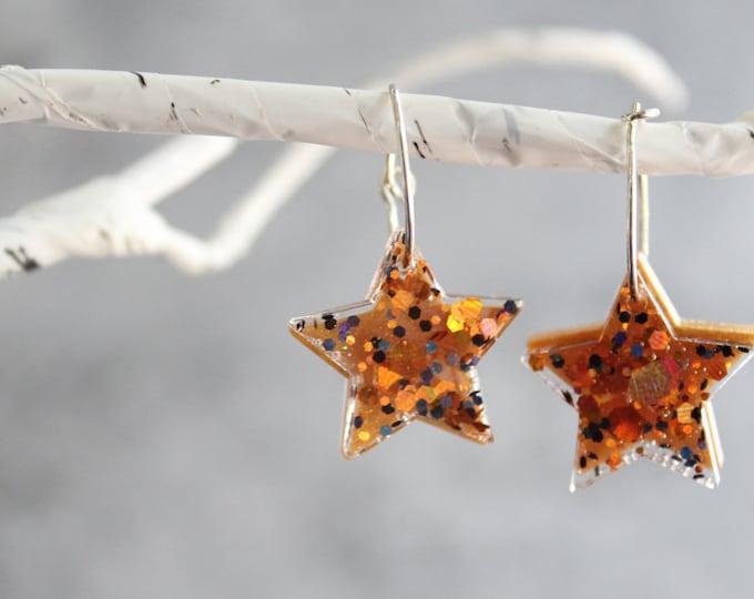 star earrings on sterling silver hoop, Halloween jewelry, Halloween earrings
