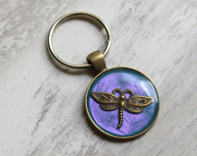 violet blue dragonfly keychain, insect keyring