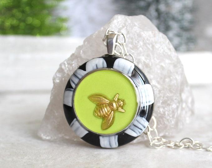 bee necklace, honeybee jewelry, bumblebee pendant, colorful jewelry, nature necklace, unique gift, boho jewelry, hippie jewelry