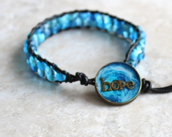 sky blue hope bracelet, beaded bracelet, leather cord bracelet, hope jewelry, inspirational jewelry, unique gift, hippie jewelry
