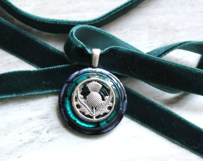 Scottish thistle necklace, velvet choker with pendant