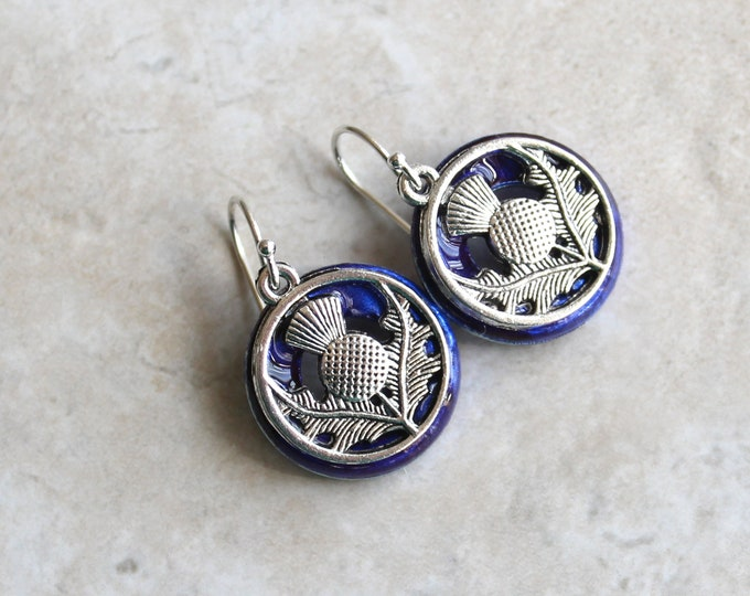 royal blue Scottish thistle earrings, flower dangle earrings, Scottish jewelry, unique gift, Scotland wedding, bridesmaid gifts