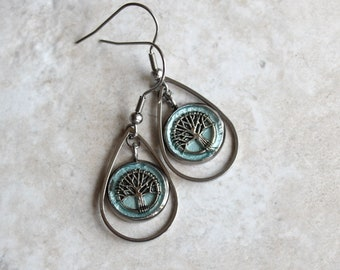 ice blue tree earrings, tree of life, tree jewelry, woodland jewelry, unique gift, wife gift, nature earrings, teardrop earrings