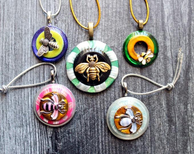 bee tree ornaments, set of 5, miniature tree, spring ornaments, summer ornaments