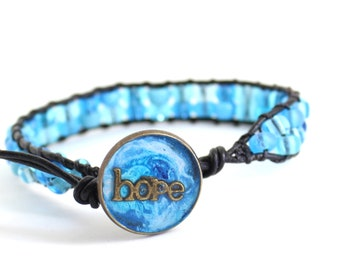 hope inspirational bracelet with blue glass beads and leather cord