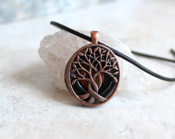 black tree of life necklace, mens valentine gift, boyfriend gift, celtic tree, mens jewelry, mens necklace, unique gift, gift for him