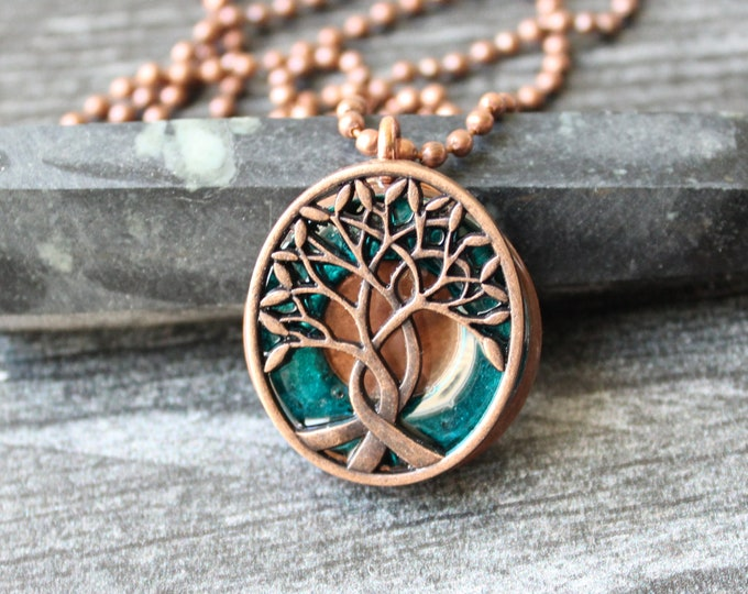 tree of life necklace, teal blue, celtic pendant, boyfriend gift, celtic tree, mens jewelry, mens necklace, unique gift, gift for him