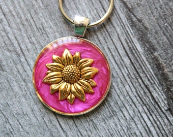 sunflower keychain, floral keyring, unique gift, pink, mom gift